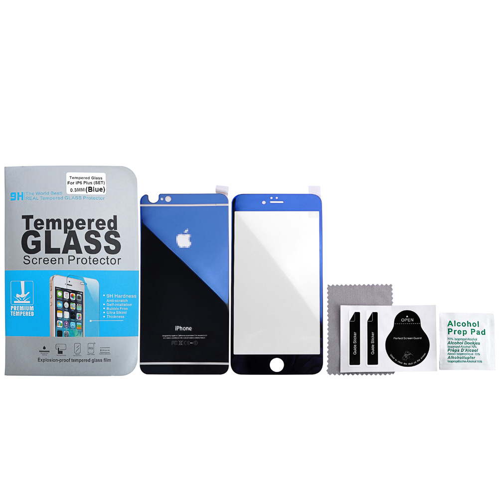 Yoption iPhone 6 Plus 5.5 Inch Case-Yoption Electroplating Front+Back Mirror Effect Tempered Glass Film Screen Protector Decal Skin Sticker Cover for iPhone 6 Plus 5.5 Inch (Blue)