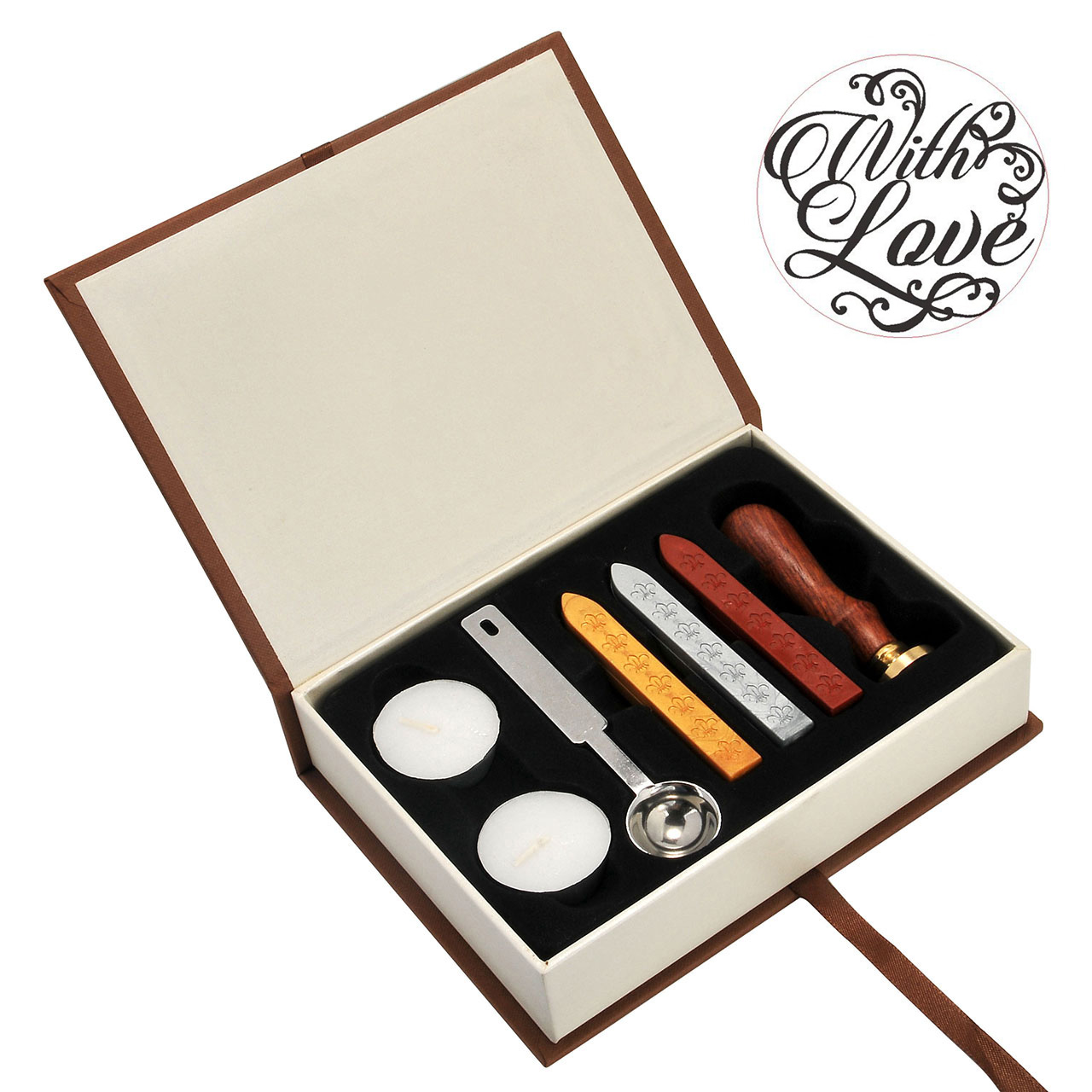 With Love Wax Seal Stamp Set, Yoption Classic Vintage Seal Wax Stamp Set, Retro Seal Stamps Maker Gift Box Set (With Love)